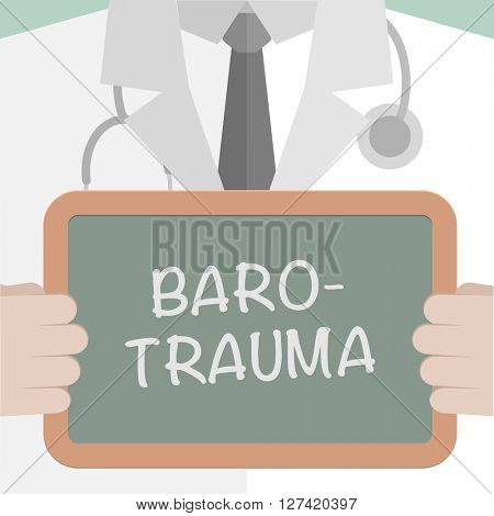 minimalistic illustration of a doctor holding a blackboard with Barotrauma text, eps10 vector