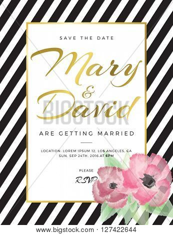 Modern card, for invitation or announcement with flowers and golden details