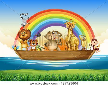 Wild animals riding on rowboat illustration