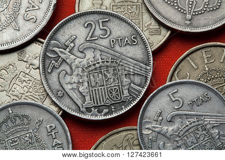 Coins of Spain. Coat of arms of Spain under Franco depicted in the Spanish 25 peseta coin (1957).