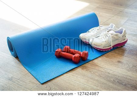 Set for sports activities on wooden floor