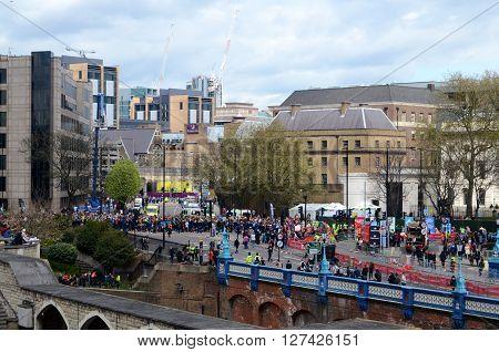 LONDON, UK, APRIL 24, 2016: The London Marathon -  spectators opposite the Tower of London