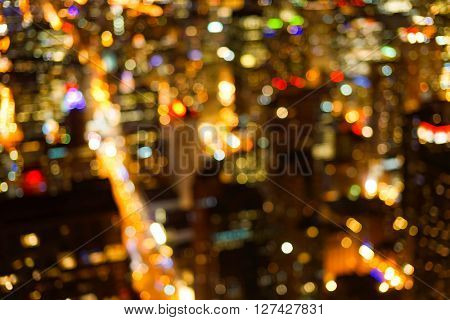 Defocused aerial view of Chicago downtown at night
