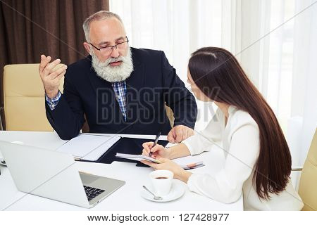 Portrait of young businesswoman explaining business plan to her colleague while sitting in office