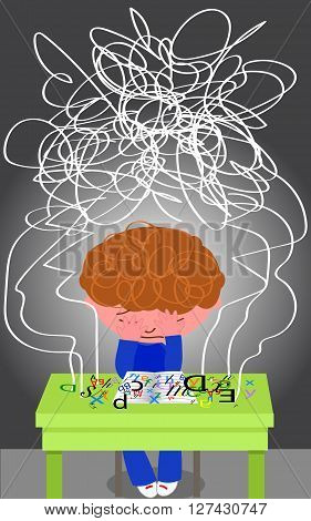 Frustrated dyslexic boy trying to read. Vector illustration.
