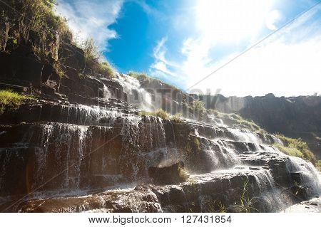Detian waterfall in Vietnam. Pongour. Beautiful landscape