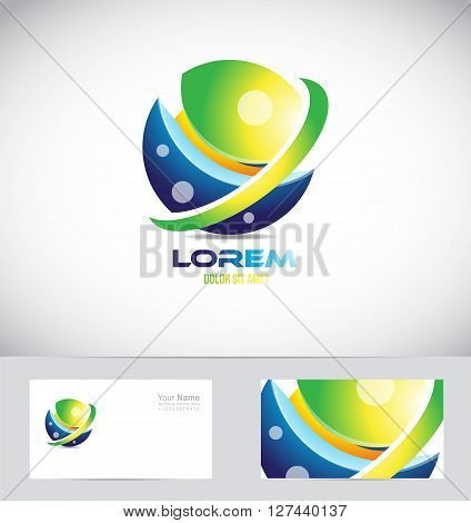 Vector company logo icon element template sphere globe 3d global
