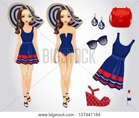 Vector illustration of fashion set for paper doll in blue beach dress with accessories