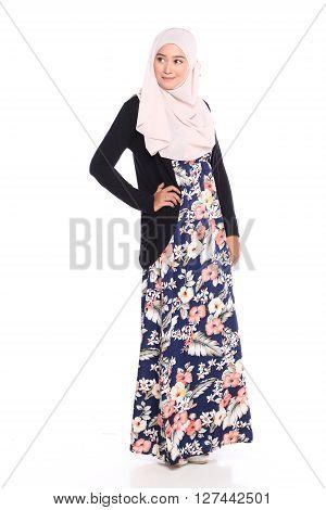 Asian Malay Woman Posing With Muslim Attire