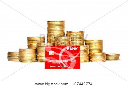 many golden coins in column and credit card isolated on white