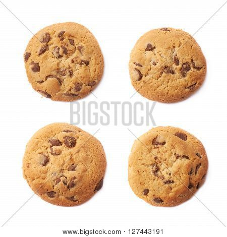 Round cookie with chocolate isolated over the white background, set of four different foreshortenings