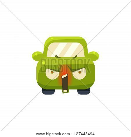 Enraged Green Car Emoji Cute Childish Style Character Flat Isolated Vector Icon