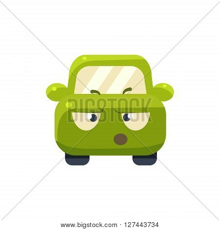 Arguing Green Car Emoji Cute Childish Style Character Flat Isolated Vector Icon