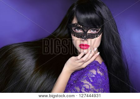 Hair. Beautiful Brunette Girl. Healthy Long Glossy Hairstyle. Red Lips. Beauty Make-up. Mask. Manicu