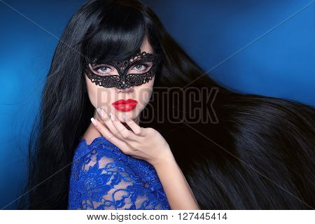 Beautiful Healthy Hair. Beauty Woman In Mask With Luxurious Long Hairstyle. Red Lips. Attractive Gir