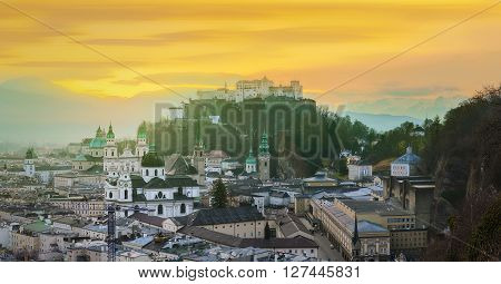 Panoramic view of Salzburg, Salzburger Land, Austria