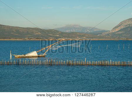 Beautiful Landscspe With Boats At The Lake Of Mesologgi