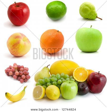 page of fruits isolated on the white background