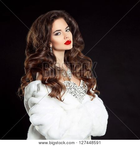 Beauty Portrait Of Beautiful Elegant Woman With Red Lips Makeup And Long Wavy Hair Style, Wearing In
