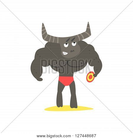 Minotaur  Monster On The Beach Childish Funny Flat Vector Illustration Isolated On White Background