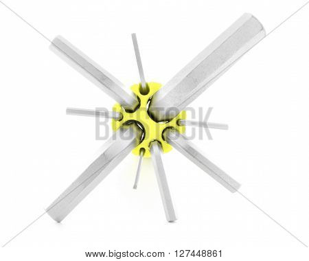 Allen key steel tool for fix isolated on white background
