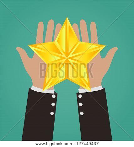 Businessman Hands Giving Gold Star, Success Concept