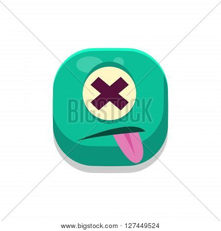 Dizzy Monster Square Icon Isolated On White Background In Fun Childish Emoji Style Vector Design