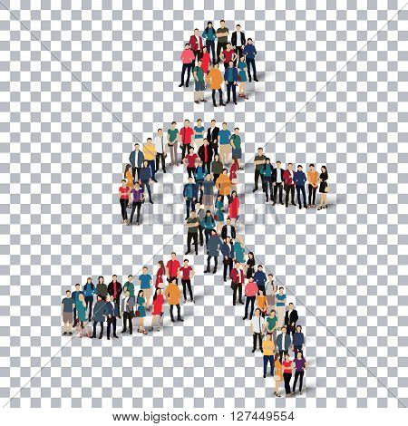 Isometric set of styles, running man , web infographics concept  illustration of a crowded square, flat 3d. Crowd point group forming a predetermined shape. Creative people. - Vector Illustration. Stock vector.3D illustration.Transparency grid .
