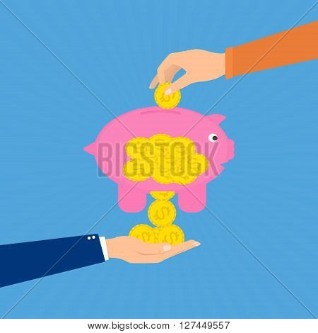 Hand puts a coin in a pigy bank and coins fall to businessman hand. Vector illustration flat design tax and debt concept.