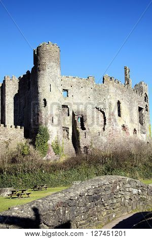 Laugharne Castle, Laugharne, Carmarthenshire, Wales, UK is a ruin of a 12th century medieval castle