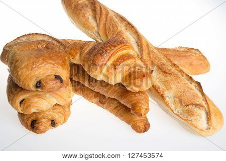 Studio Shot Of A Some Typical French Viennoiseries And Bread