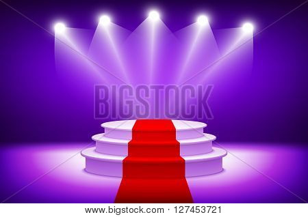 3D Empty Illuminated White Stage Podium Vector Illustration With Red Carpet On Violet Background