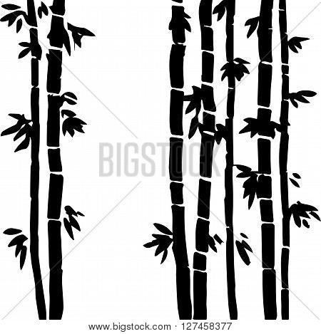 monochrome  bamboo grove, fresh bamboo stalks, bamboo forest, hand drawn vector illustration