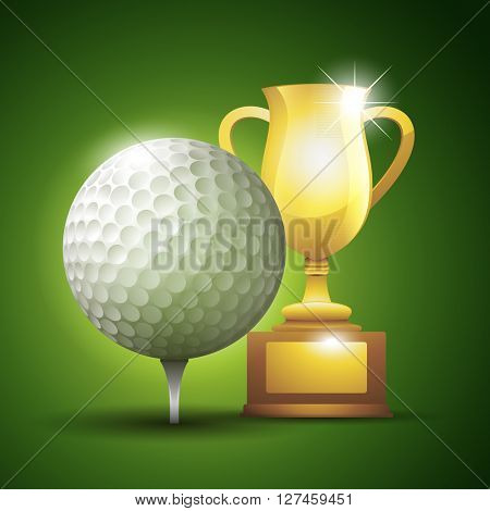 Gold cup with a golf ball. Vector illustration background
