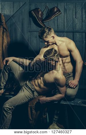 Two young male twins with sexy body showing their muscular torso and abs in studio poster