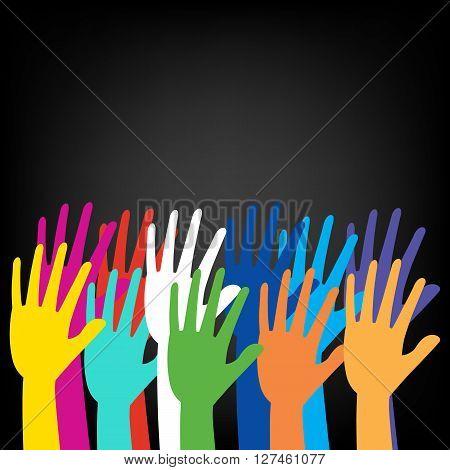 Colorful hand rising on black background. vector illustration design.