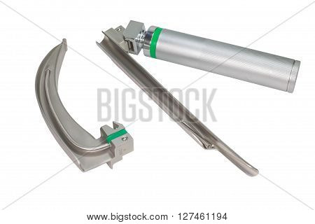 Laryngoscope with Miller blades and Macintosh blades on white background.