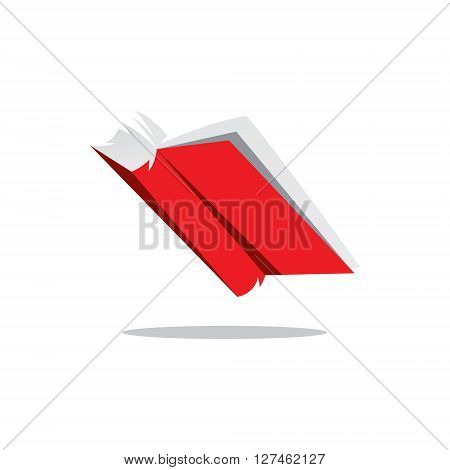 Open Book Red Isolated on a White Background