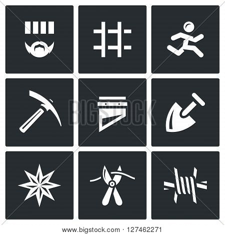 Criminal, Bars, Runner, Pickaxe, Guillotine, Shovel, Tattoo, Pliers, Barbed Wire