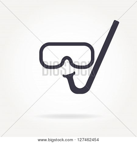 Diving or scuba mask icon. Mask and snorkel. Vector illustration.