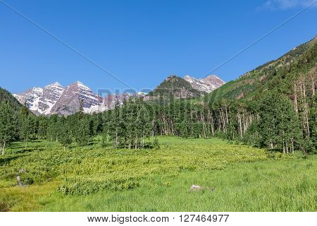 the scenic landscape of the maroon bells aspen colorado in summer