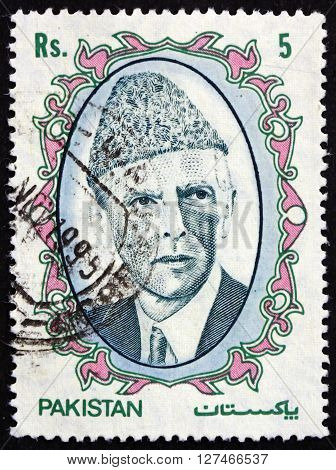 PAKISTAN - CIRCA 1989: a stamp printed in Pakistan shows Mohammad Ali Jinnah Lawyer Politician and the Founder of Pakistan circa 1989