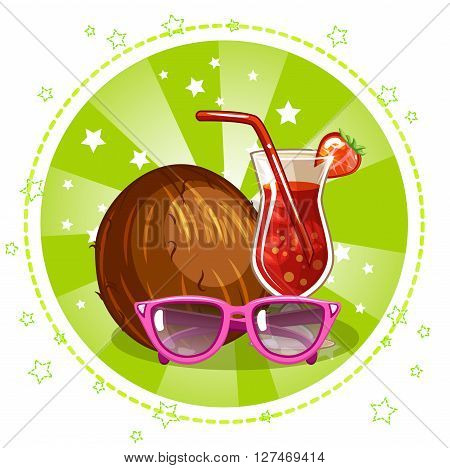 Exotic cocktail, glasses and coconut. Set summer symbols. Vector Stock Illustration