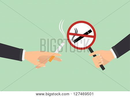 Human hand with no smoking and human hand holding a cigarette on green background. Vector illustration flat design World No Tobacco Day concept.