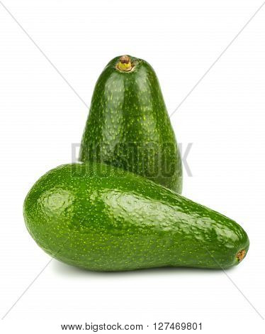 Two green ripe avocado on white background