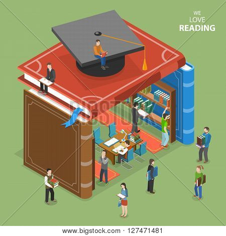 We love reading isometric flat vector concept. People near and inside library that is built of book. Education reading learning online. Online education e-learning tutorial training courses graduation.