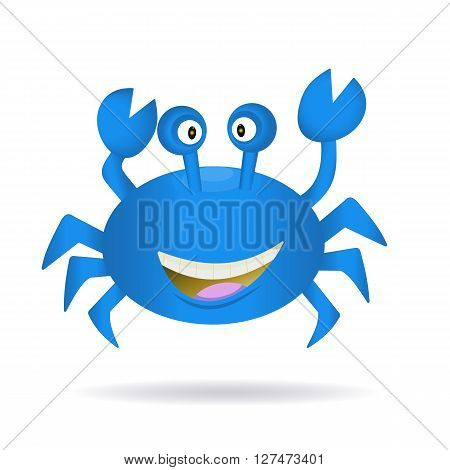 Cute hand drawn blue crab isolated on a white background with shadow. Tropical sea life graphic design elements. Summer icon. Colorful vector cartoon illustration.