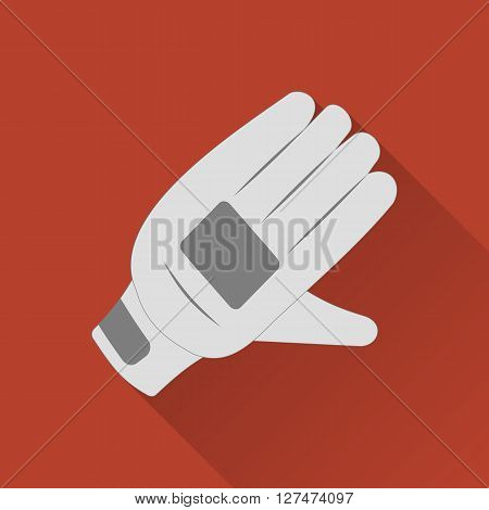 Cricket glove flat icon. Colored flat image with long shadow on yellow background. Cricket game equipment flat icons composition. Professional sport theme. Unique modern style. Vector concept.
