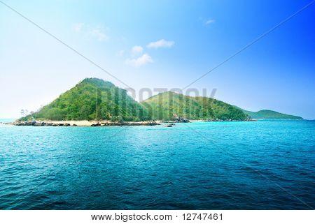 tropical island and ocean