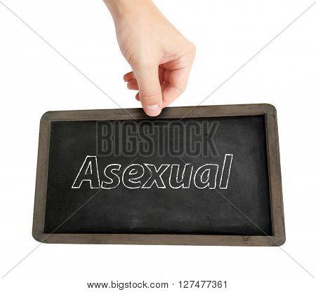 Asexual  written on a blackboard